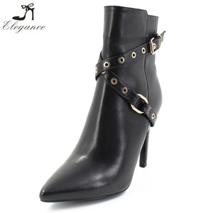 Online Wholesale Black Leather Shoes Women Velvet Lining High Heel Stiletto Cross Strap Eyelet Buckle Zipper Chelsea Ankle Boots