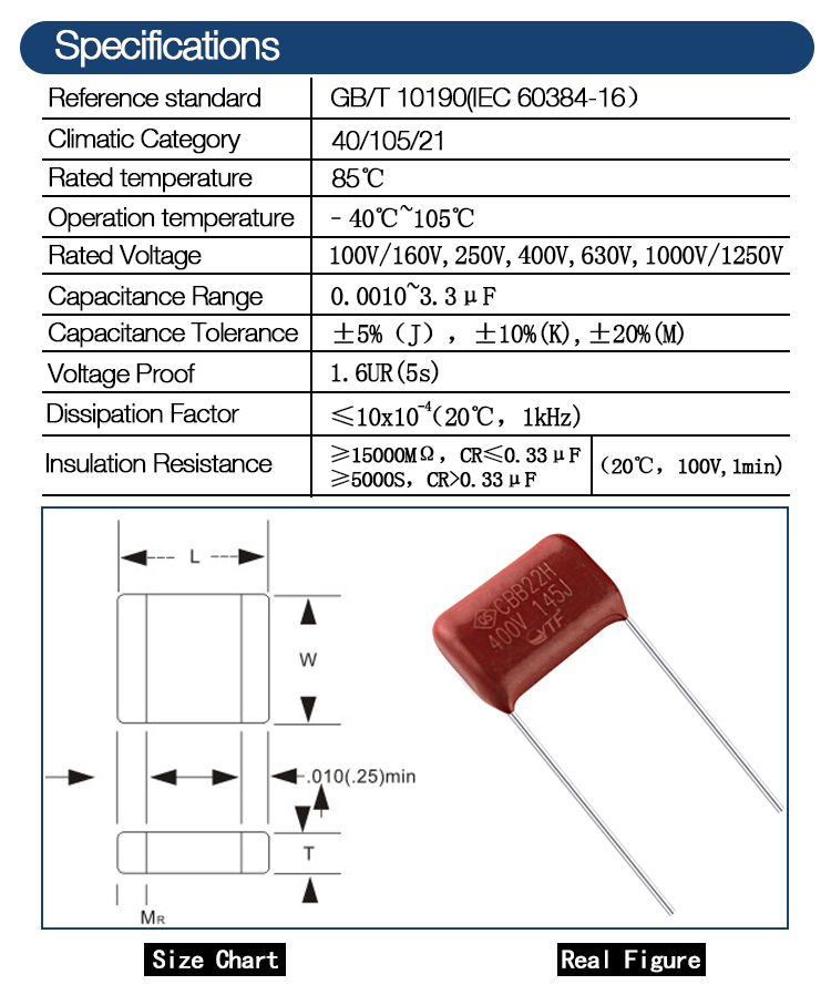 Factory price film capacitor 630v