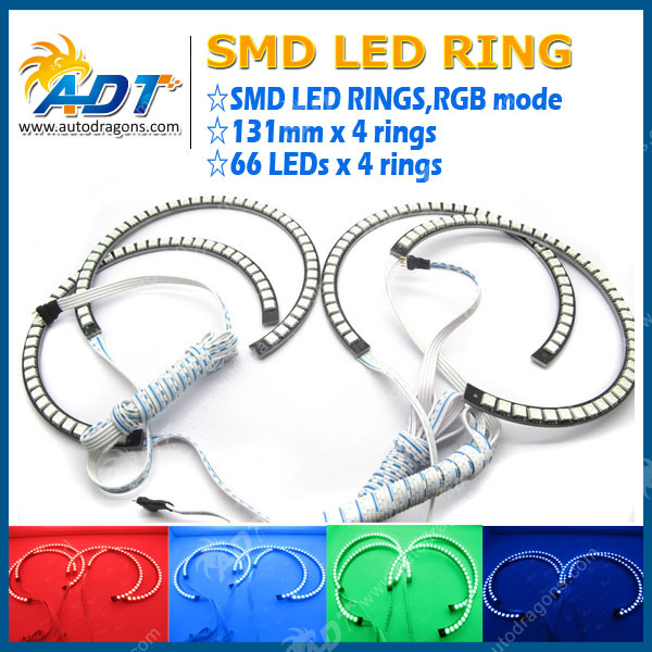 Multi-Color RGB LED Angel Eye Halo Rings For BMW E39 E36 E46 3 5 7 Series Headlight