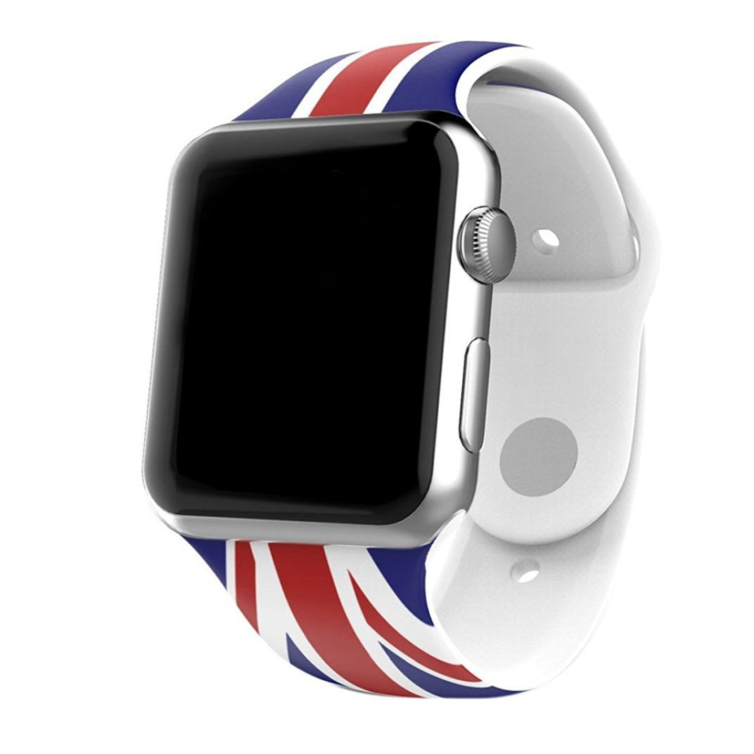 For Apple Watch Band , HP95(TM) Replacement, Adjustable British Flag Pattern Sports Silicone Bracelet Strap Band For Apple Watch 38mm/ 42mm all Model Watch Band (38mm , British Flag )