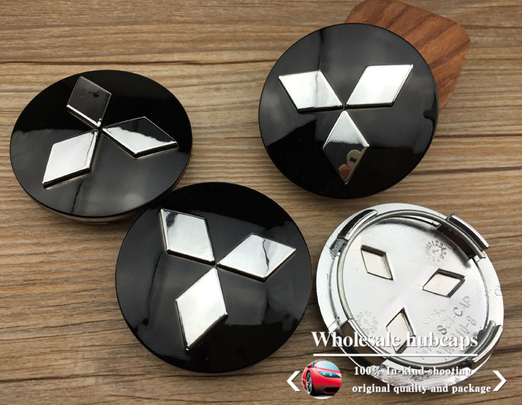 4pcs 60mm Black Silver Mitsubishi Car Emblem Wheel Center Hub Caps