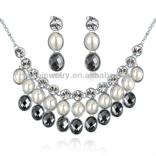 N1245 Hot selling ceramic necklace pearl rosary necklace artificial pearl necklace set