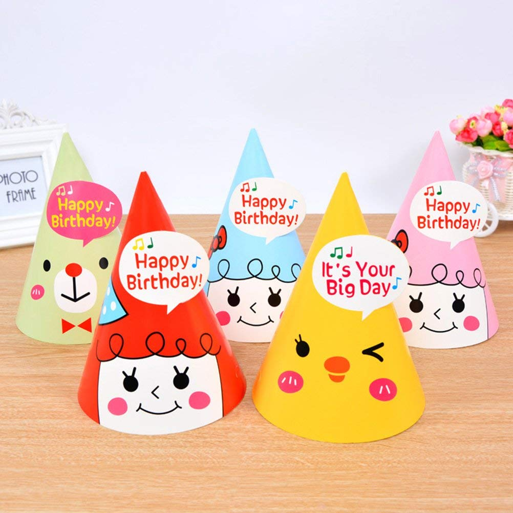 12Pcs Happy Birthday Party Hats Lovely Kids Decorations DIY Cute Paper Cap Crown For Children