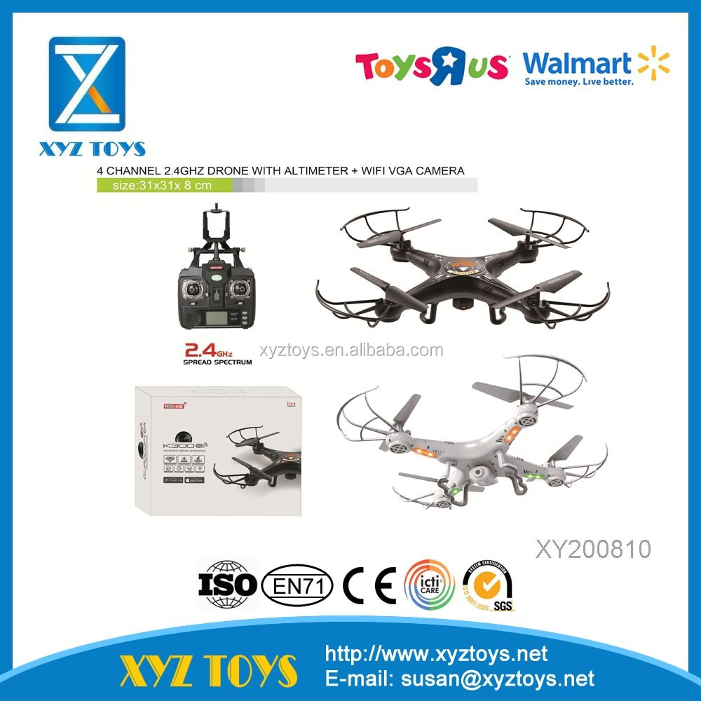 K300C- HW 7 R/C outdoor 4 channel 2.4GHz Drone with Gyro + WIFI VGA camera quadrocopter toys