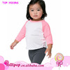 Fashion USA apparel custom Infant and toddler Cotton Soft Pink 3/4 Sleeves and white body Raglan baby kids t shirts for 2 -6 y