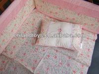 pink embroidered flowers baby bed sheet set