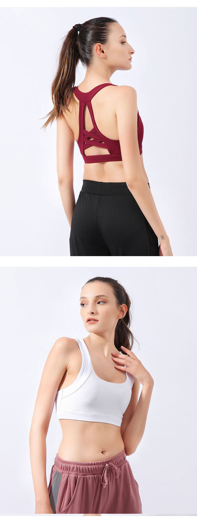 New Women Yoga Tops Fitness Breathable Running Shirts High Quality Push Up Sport Bra Wholesales