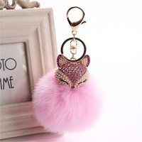 Charms Crystal Faux Fox Fur Keychain Bags Accessories Pendants Key Chain Key Ring