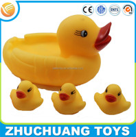 vinyl happy family yellow duck baby bath toy set for kids