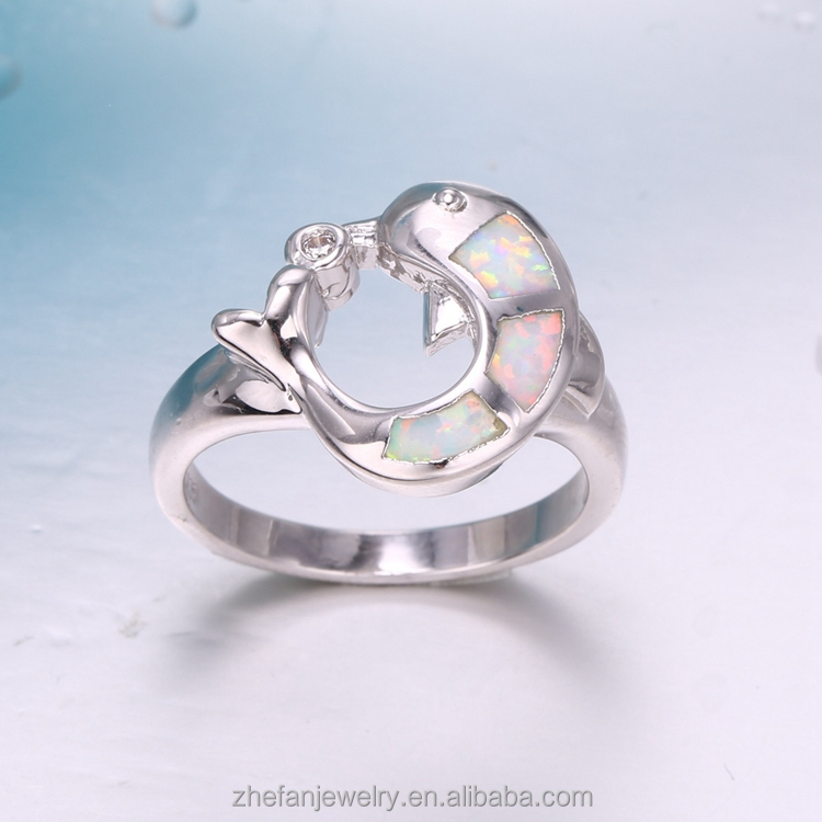 summer fashion series fish shape ring white fire opal thanks given gift