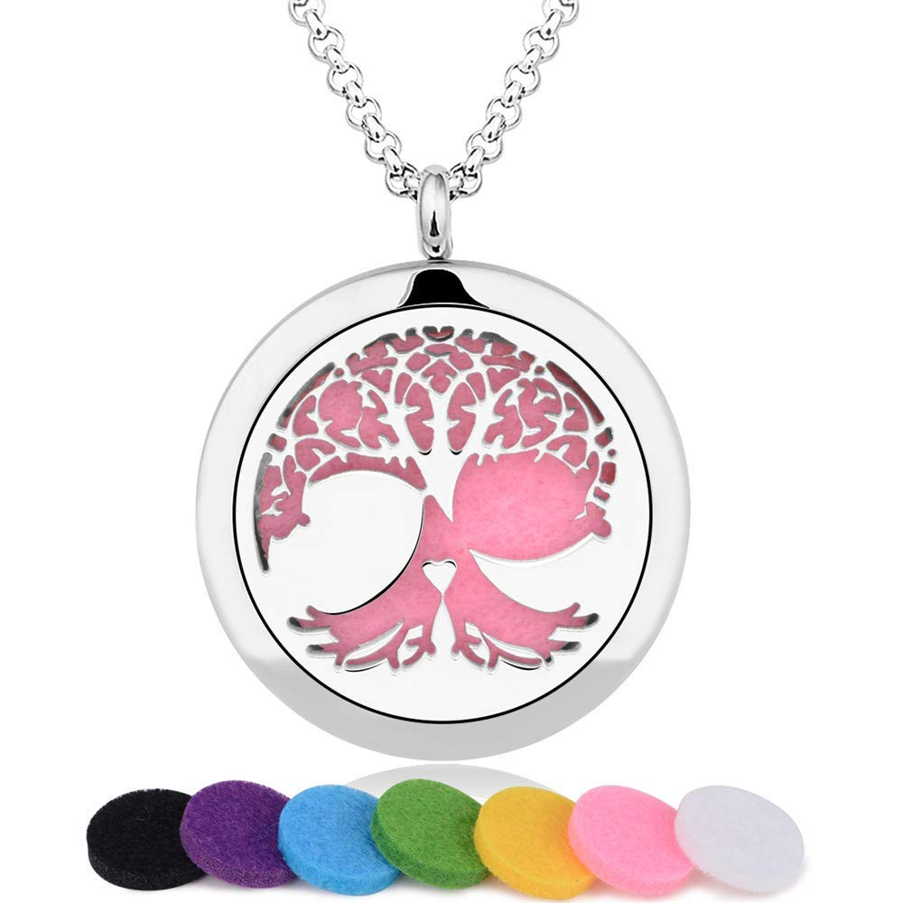 """INFUSEU Aromatherapy Essential Oil Diffuser Necklace Tree of Life Locket Pendant + 12PCS Multi-Colored Refill Pads + 20"""" Chain Stainless Steel Scent Women Jewelry for Meaningful Gift Set"""