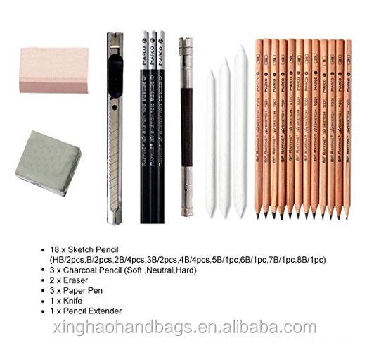 18pcs Sketch Pencils Eraser Charcoal Pencil Extender Drawing Set Art Supply