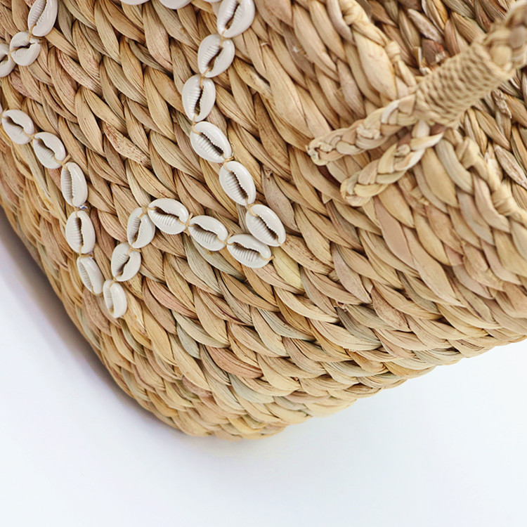 RKY0730 New summer style shell star gourd grass woven bag woven pp beach bag straw rattan tote bag-5