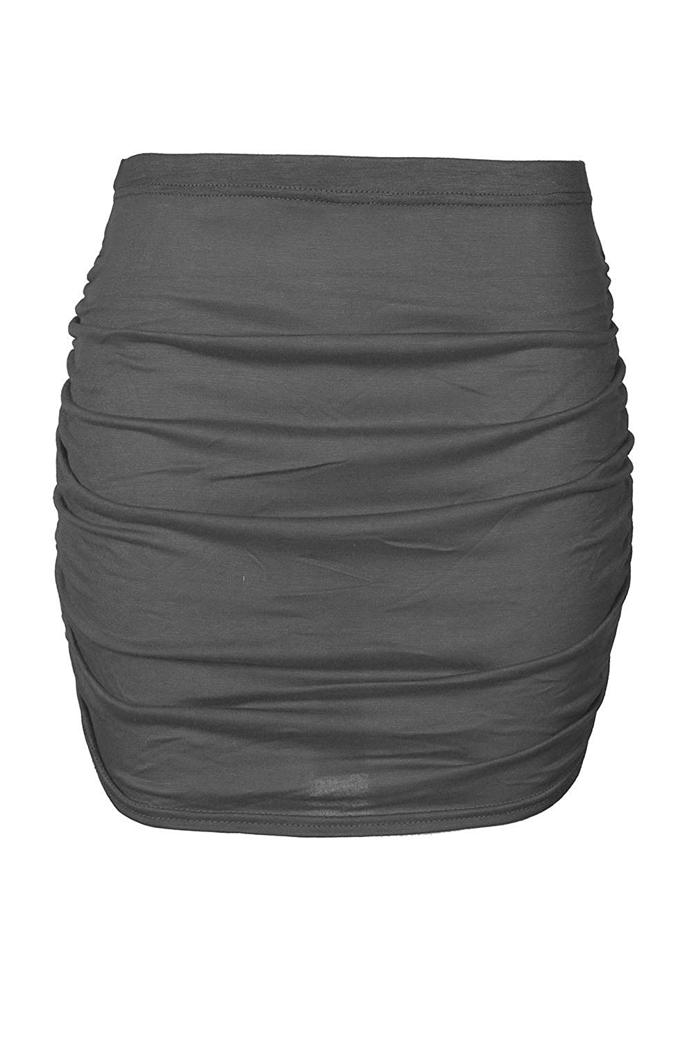 Oops Outlet Women's Mini Skirt Plain Elasticated Stretchy Side Ruched Bodycon