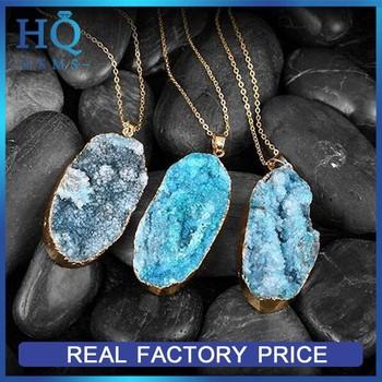 065e0e93a792 Natural Brasil Azul Áspero Druzy Cuarzo Piedra Colgante Collar De ...