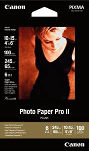 Canon Photo Paper Pro II, 4 x 6 Inches, 100 Sheets (2737B012)
