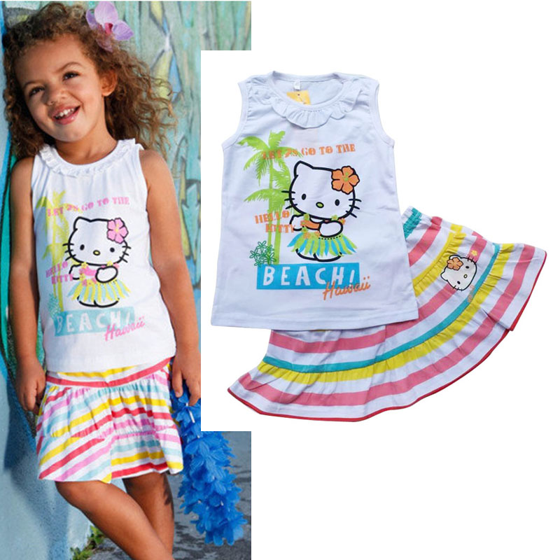 NEW Baby Girls Summer cartoon Clothing Sets Girls 2 piece Set Baby Brand New Clothing Kid