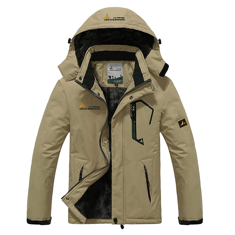 fc52df0f28ff Get Quotations · Cuteplus Mens Fleece Coats and Jackets With Fur Hood Big  Tall Waterproof Windproof Ski Jacket