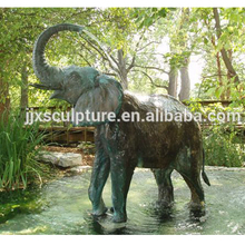Outdoor yard decoratie casting bronzen olifant sculptuur fontein