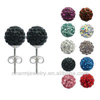 8mm Shamballa Disco Pave Crystal Ball Stud Earrings EC-007