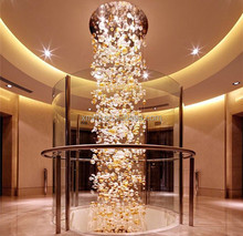 Custom Modern hand blown glass art large hotel lobby chandeliers for sale