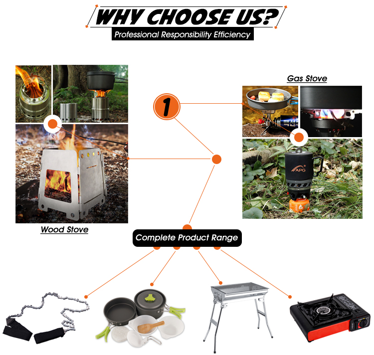 APG Folding Portable Camping Wood Burning Stove