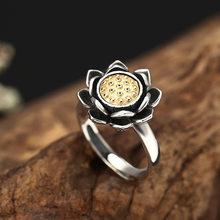 Женское регулируемое кольцо Lotus, уличное кольцо в стиле хип-хоп, из стерлингового серебра 925 пробы с поворотом в виде лотоса, 2019(Китай)