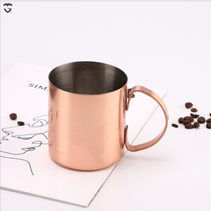 450ml couston logo Hot Sale Drinking Moscow Mule Copper coffee beer camp cup gold stainless steel mug with handle