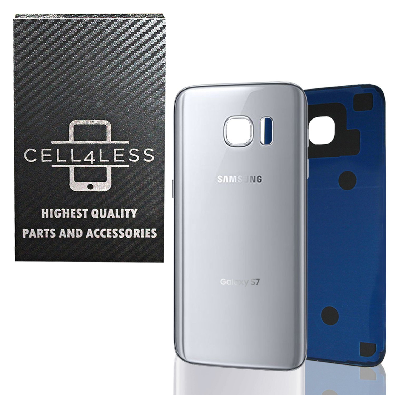 CELL4LESS Compatible Back Glass Cover Back Battery Door w/ Pre-Installed Adhesive Replacement for Samsung Galaxy S7 - All Models G930 All Carriers- 2 Logo - OEM Replacement (Silver Titanium)