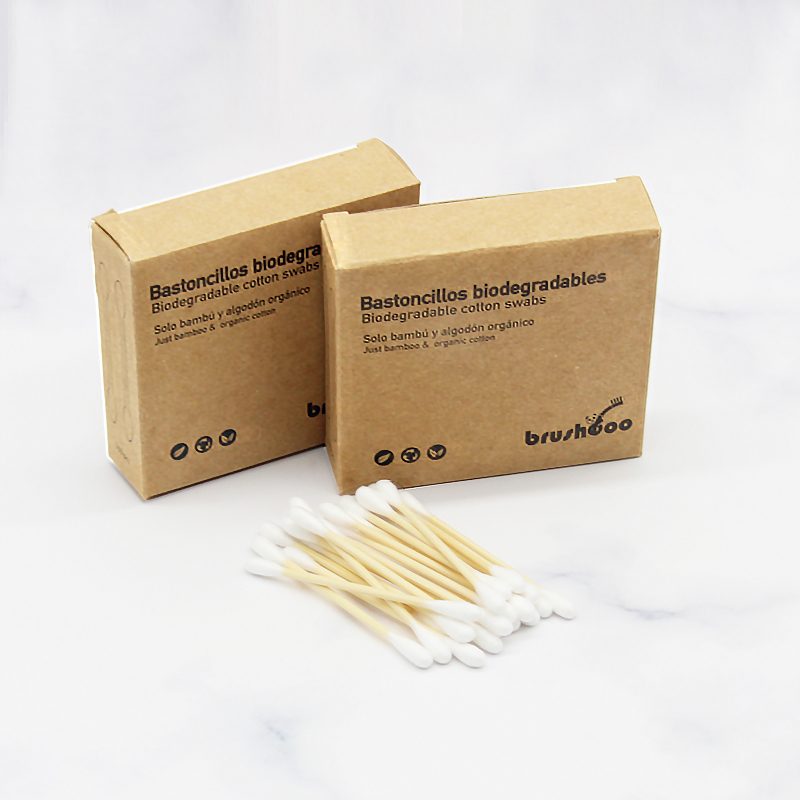 Free Sample  100pcs  bamboo cotton stick swabs  ear clean buds