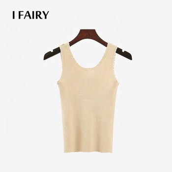 Summer U Neck Shirt Vest For Women Scalloped Hem Rib Knit Slim Tank Top