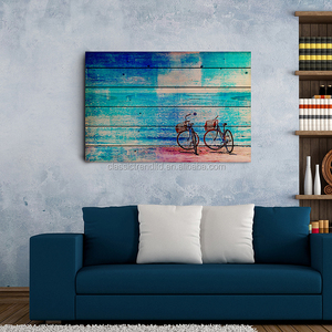 Super grade seaside bicycle painting arts on wood board
