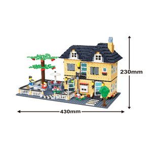 Colorful construction building blocks toys two-story villa with eco plastic material