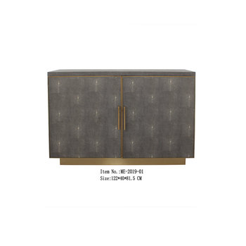 Bedroom Reen Pu Faux Leather Storage Two Doors Cabinet Furniture