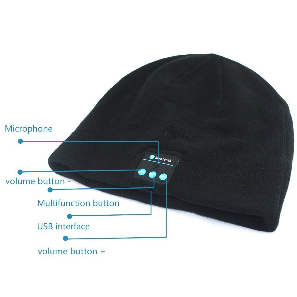 Warm Comfortable Fashionable (black) Beanie Winter Hat Stocking Cap  Wireless Bluetooth Headphones hats 0793f999be68