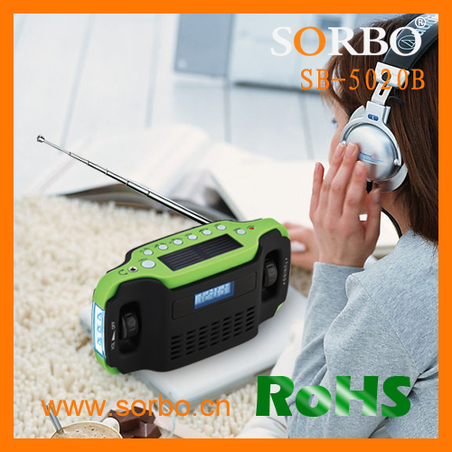 SORBO Hot Selling Hand Crank Dynamo Rechargeable Solar Radio LED Torch Light With USB Phone Charger