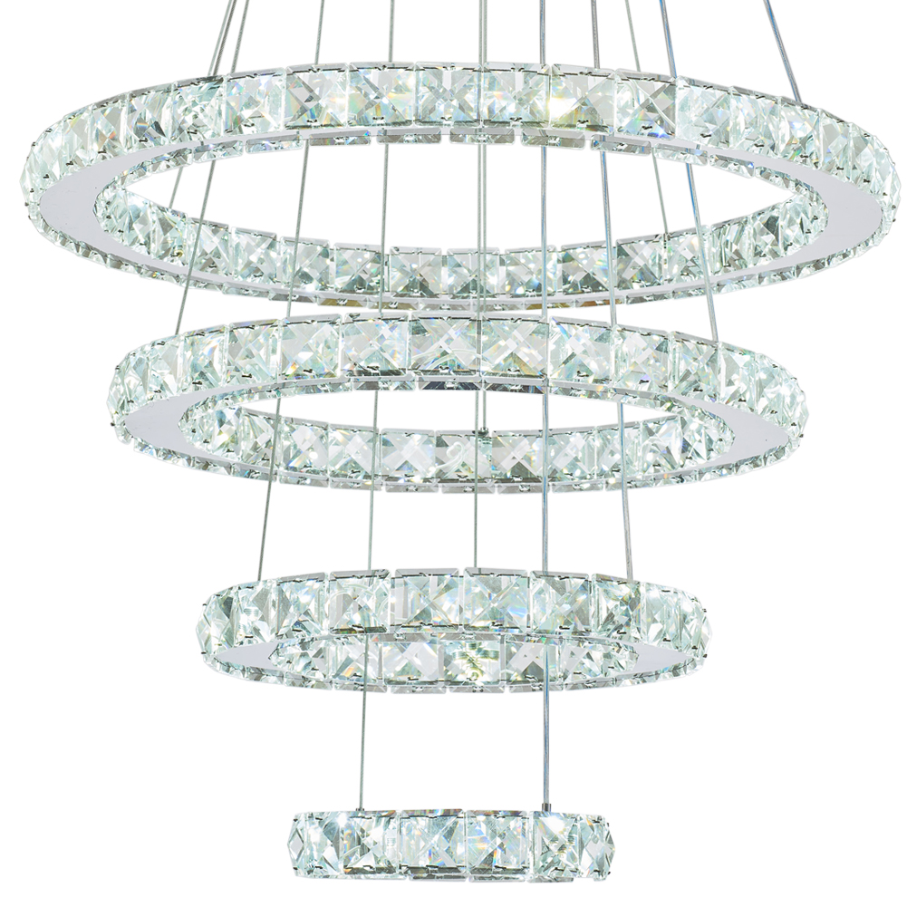Top Quality Crystal Lighting Chandelier Ceiling Lights Geometric Chandelier 4 Rings Hanging Lamp for Living Room Bedroom MP009