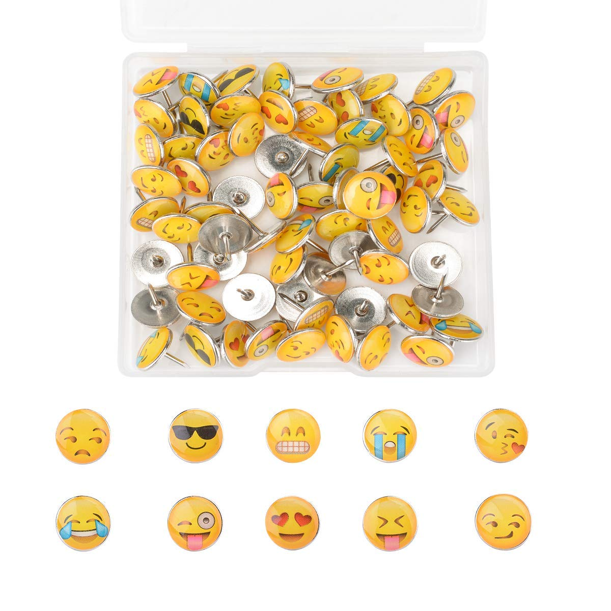 Nakenja 80 Pieces Smiley Face Push Pins Creative Thumb Tacks for Photos Wall, Maps, Bulletin Board or Cork Boards with a Storage Box, 10 Different Patterns