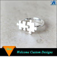 Alibaba website zinc alloy silver/ gold plating open puzzle ring