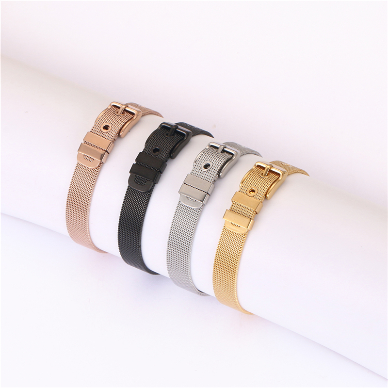 패션 금 plated stainless 강 한 수 제 leather charms custom watch mesh bracelets 및 bangles women men jewelry