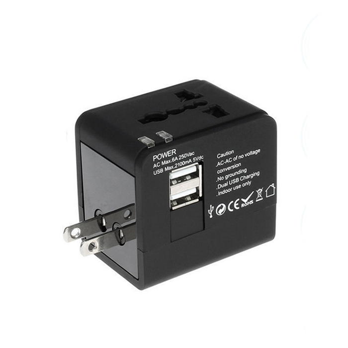 Alle in Een Universele Internationale Plug Adapter 2 Usb-poort Wereld reizen Ac Charger Adapter met AU US UK EU Plug
