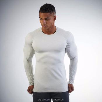 95 Cotton 5 Spandex Gym Wear Workout T Shirts Men Long Sleeve T