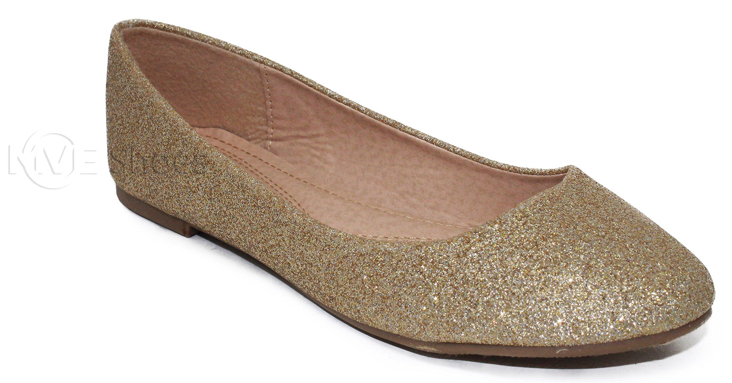 MVE Shoes Women's Crystal Rhinestone Slip On- Formal Glitter Flats- Dress Shoes Maryjane-Shiny Glitter Ballet Flats - Dress Ballerina Sparkle Wedding