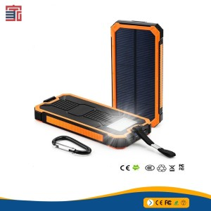 20000mah Dual Usb Port Waterproof Solar Power Bank Portable With Led Lights Compass