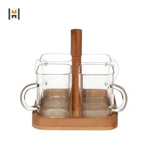 Custom 4-piece Glass tea mug with handle with wood tray