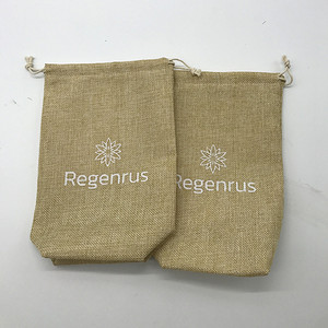 Wholesale Natural Square Bottom Hessian Hemp Plastic Bags With Logo