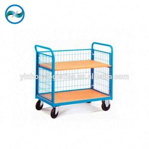 New Transport Hand Carts Push double Layers Platform Trolley price made in China