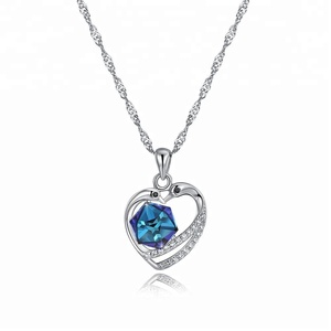 Chinese couple love fashion pendant 925 sterling silver platinum plated blue heart crystal gemstone necklace for anniversary