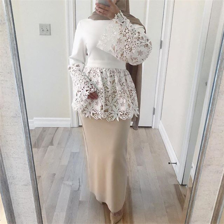 2019 Fashion bell sleeve white Islamic muslim lace blouse lady top