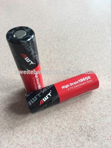Hot!! AWT 18650 battery 50A 3.7v 2600mah rechargeable battery for vaporizer tank 10ml color changing light e cigarette